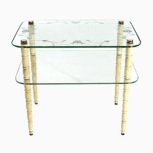 Italian Glass and Wood Coffee Table, 1930s