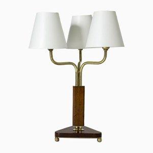 Lámpara de mesa sueca Mid-Century de caoba, años 50