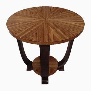 Art Deco Round Mahogany and Zebrano Coffee Table, 1930s