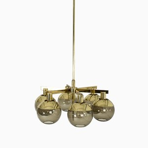 Brass and Glass Chandeliers by Hans-Agne Jakobsson for Hans-Agne Jakobsson AB Markaryd, 1960s, Set of 2