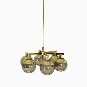 Lámparas de araña de latón y vidrio de Hans-Agne Jakobsson para Hans-Agne Jakobsson AB Markaryd, años 60. Juego de 2