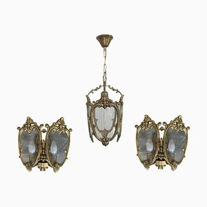 French Bronze and Glass Sconces, 1920s, Set of 3