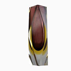 Vintage Sommermo Murano Glas Vase in Lila & Gelb von Flavio Poli, 1960er