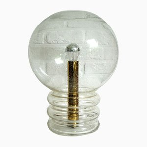 Mid-Century Glass and Brass Bulb Table Lamp from Glashütte Limburg, 1970s