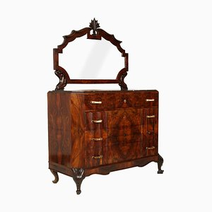 Art Nouveau Carved Burl Walnut Dresser with Mirror from Testolini e Salviati