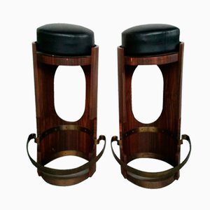 Vintage Italian Wooden Stools, 1950s, Set of 2
