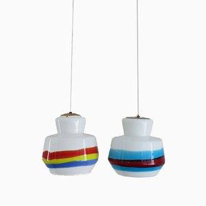 Italienische Glas Deckenlampen von Stilnovo, 1950er, 2er Set