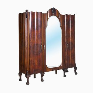 Large Antique Baroque Style Italian Hand Carved Walnut and Briar Cabinet from Testolini e Salviati