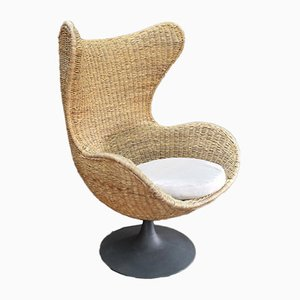 Large VIntage Rattan and Metal Lounge Chair, 1960s