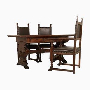 Set da scrivania e sedie vintage di Dini & Puccini, Italia, anni '20, set di 4
