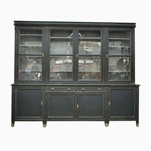Large Vintage Black Sideboard and Cabinet, 1940s
