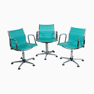 Chrome-Plated Steel and Leatherette Adjustable Desk Chairs, 1960s, Set of 3