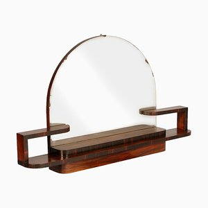 Art Deco Burl Walnut Wall Mirror by Osvaldo Borsani for Gaetano Borsani, 1920s