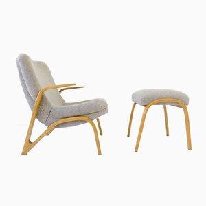 Juego de silla y otomana cóncavo de Paul Bode para Deutsche Federholzgesellschaft, años 60