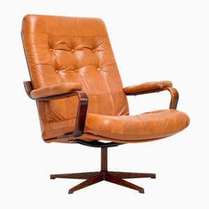 Swedish Cognac Leather Swivel Armchair, 1980s
