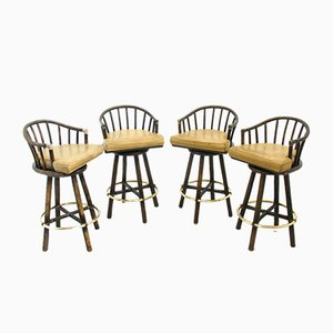 Folding Bar Stools from McGuire, 1970s, Set of 4