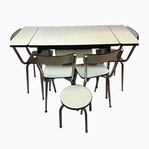 Blassgrüner Esstisch & Stühle aus Resopal, 1950er, 6er Set