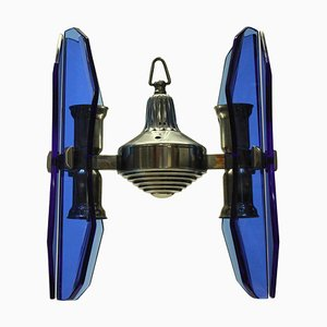 Small Blue Glass Pendant Lamp by Veca, 1960s