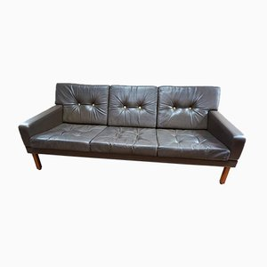 Vintage Scandinavian Three-Seater Leather Sofa with Gold Buttons, 1970