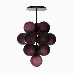 Small Stellar Grape Pendant in Aubergine Acetato with Black Frame by Sebastian Herkner