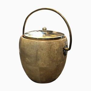 Mid-Century Goatskin and Brass Ice Bucket by Aldo Tura for Macabo, 1960s