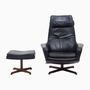 Mid-Century Rosewood & Leather Model 31 Swivel Chair & Footstool by Madsen & Schübel for Bovenkamp, Set of 2