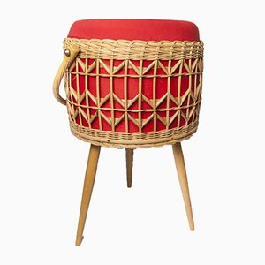Red and Wicker Basket, 1960s