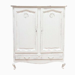 Vintage White Distressed Larder Linen Storage Cupboard