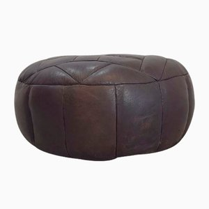 Large Vintage Brown Leather Ottoman, 1970s