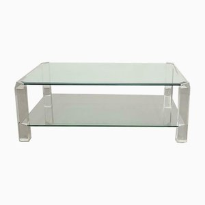 Large Vintage Eclectic Glass and Plexiglass Coffee Table