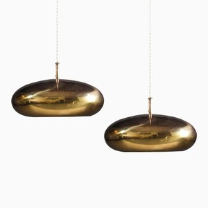 Brass Ceiling Pendants from Falkenberg, Set of 2