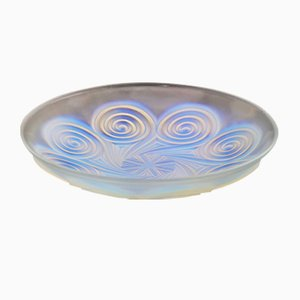 Large Art Deco Opalescent Glass Charger in Geometric Design by Etling, 1930s