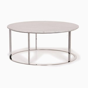 White Marble and Metal Coffee Table by Antonio Citterio for B&B Italia