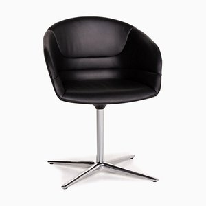 Black Leather Kyo Swivel Chair from Walter Knoll