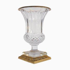 Vaso Medici in cristallo incolore e bronzo dorato, anni '50