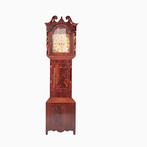 Large Antique Mahogany 8-Day Painted Face Longcase Clock