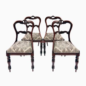 William IV Carved Rosewood Dining Chairs, Set of 4
