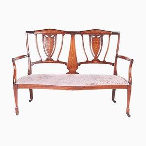 Antique Edwardian Mahogany & Rosewood Inlaid Sofa