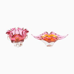 Pink Glass Bowls by Josef M. Hospodka for Sklarny Chribska, 1960s, Set of 2