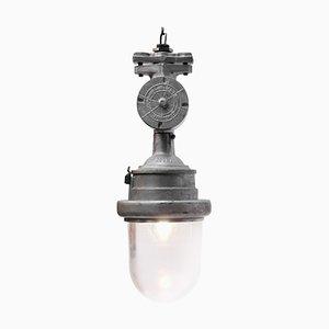 Lampe à Suspension Industrielle Vintage en Métal Gris Argent et Verre Transparent