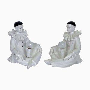 Pierrot Keramik Figurine Tischlampe von Nove-Bassano, 1960er
