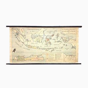 Antica mappa missionaria delle Indie Orientali e Suriname di AM Brouwer per P. Noordhoff, Olanda, anni '30