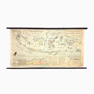 Antique Missionary Map of the Dutch East Indies and Suriname by A.M. Brouwer for P. Noordhoff, 1930s