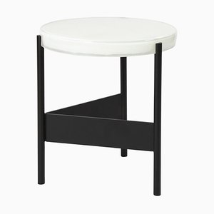Alwa Two 5600WB Side Table with White Top & Black Base by Sebastian Herkner for Pulpo