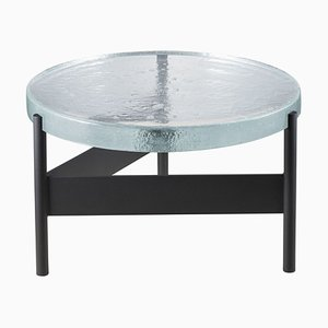 Large Alwa Two 5601TB Side Table with Transparent Top & Black Base by Sebastian Herkner for Pulpo