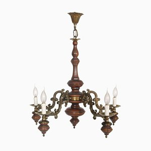 Vintage Baroque Style Lacquered Walnut and Walnut Ceiling Lamp, 1950s