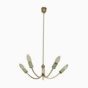 Art Deco Italian Gilt Brass and Painted Brass 5-Light Ceiling Lamp, 1920s