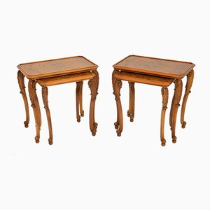 Burr Walnut Nesting Side Tables, 1920s, Set of 4