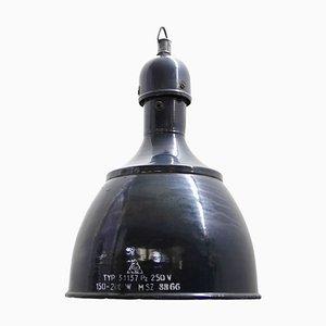 Lampada a sospensione vintage industriale smaltata blu scuro