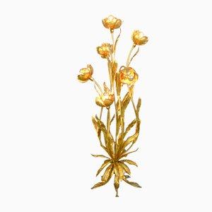 Hollywood Regency Gold Leaf Floor Lamp by Hans Kögl, 1960s